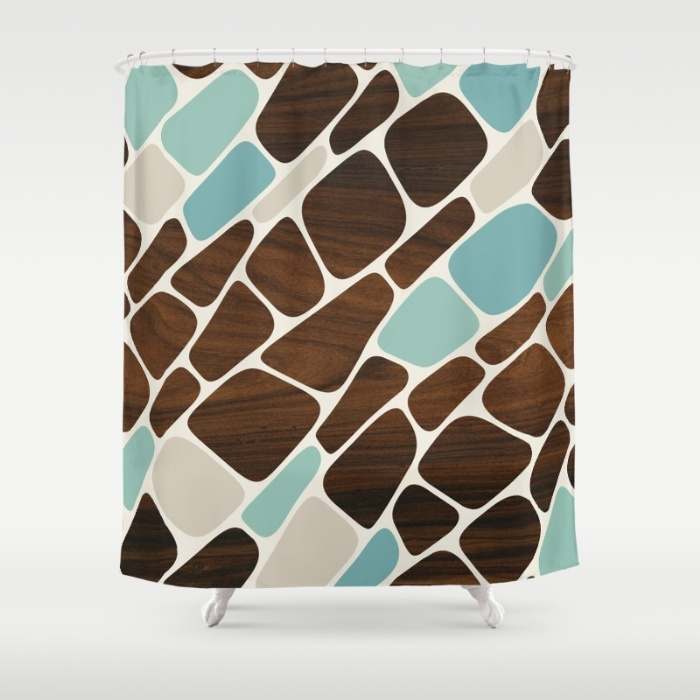 cell shower curtain in blue