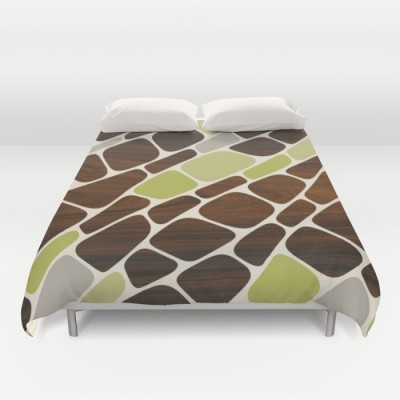 cell in green duvet cover