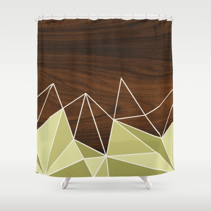 facet in green shower curtain