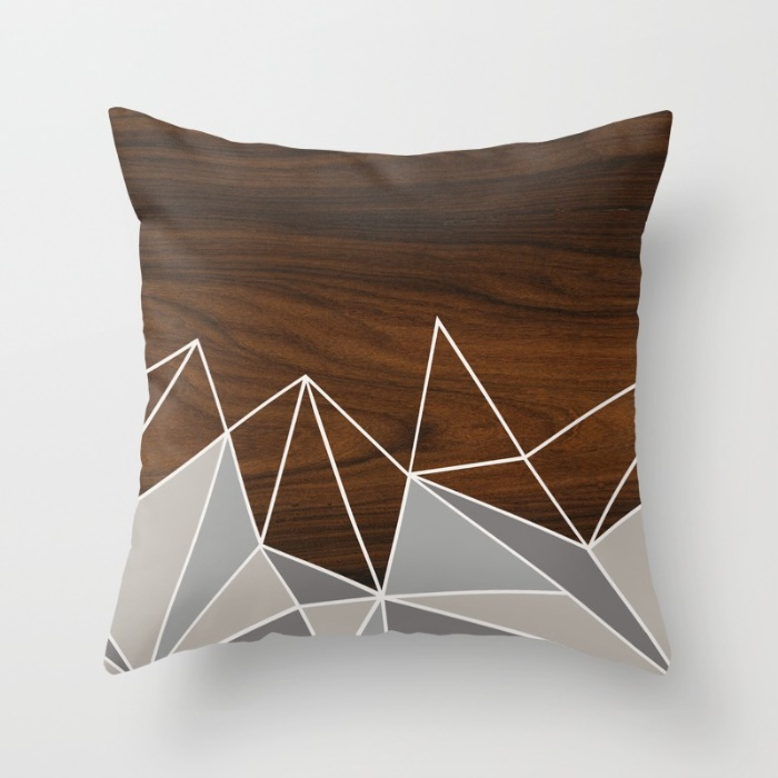 facet in grey throw pillow