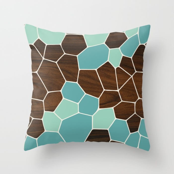 geode in blue throw pillow