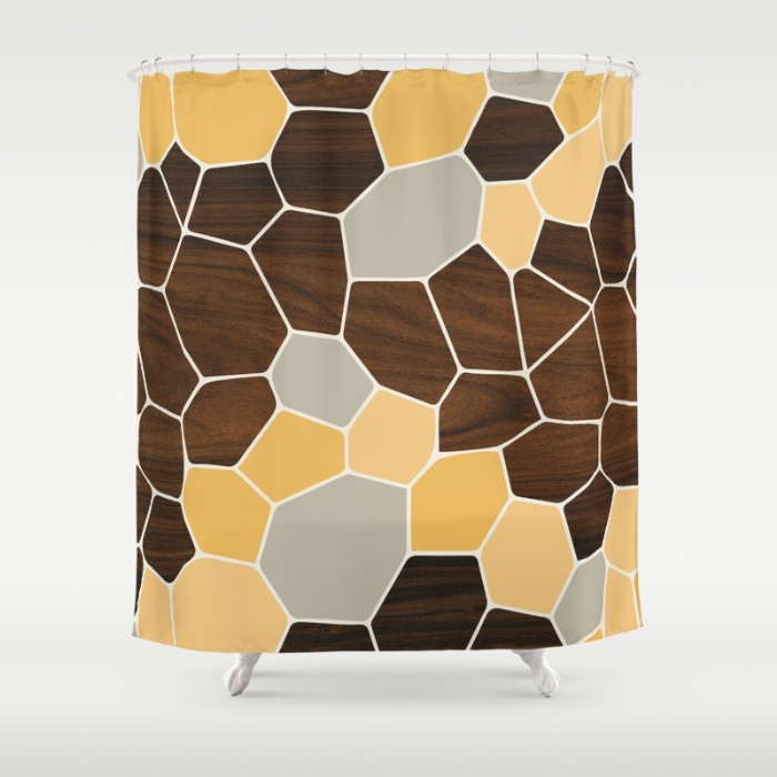 geode in orange shower curtain