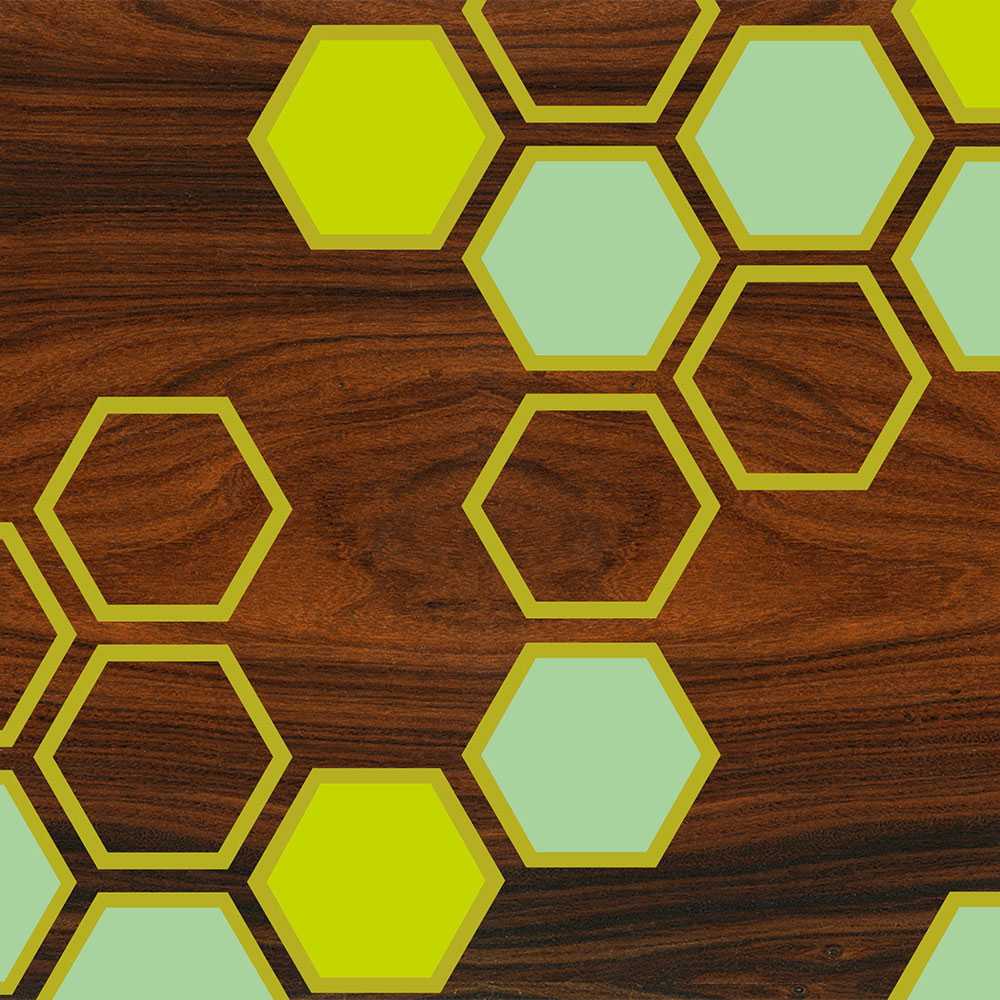 hex art print in green