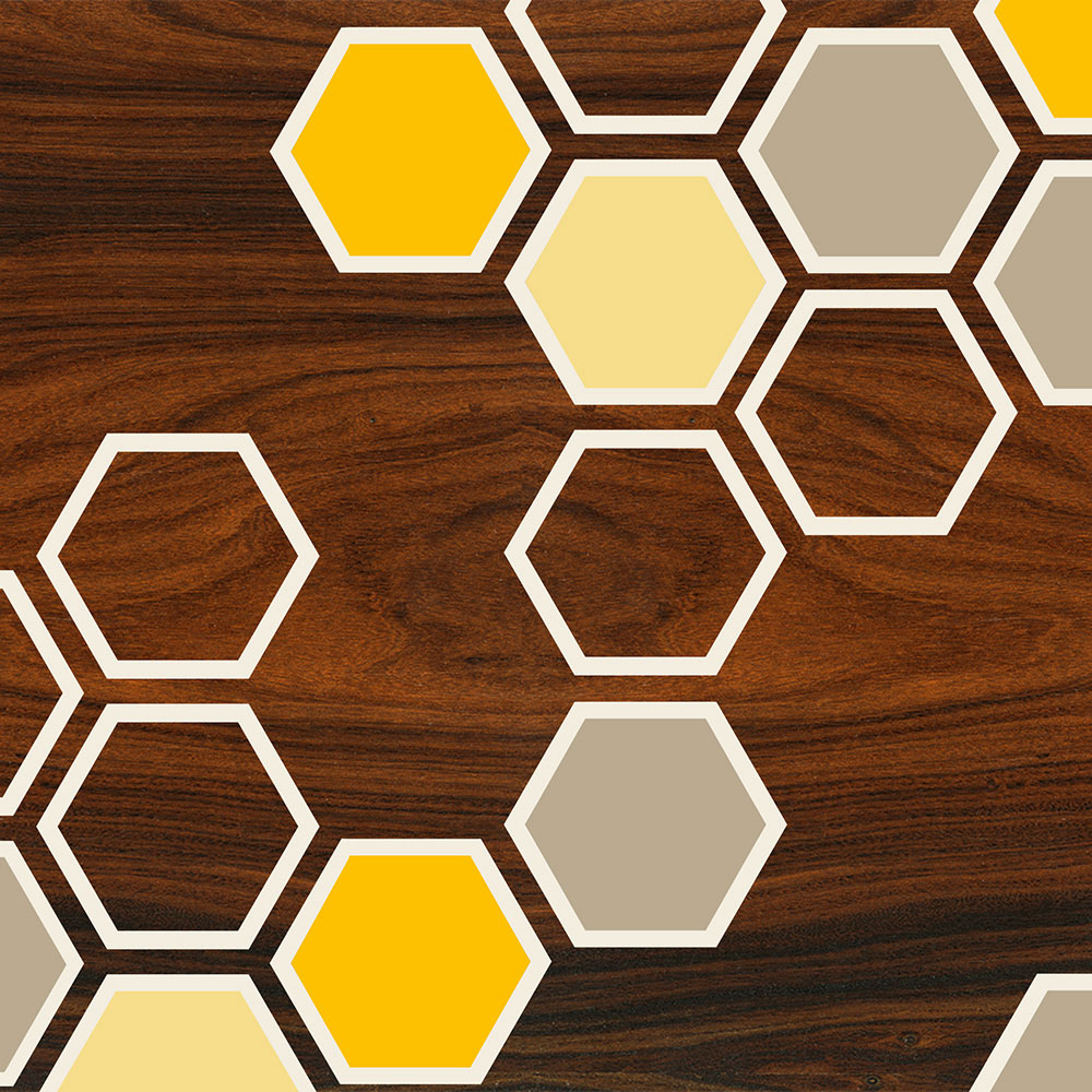 yellow honeycomb pattern geometric art print