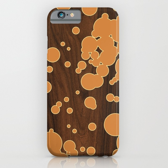 orange fizzy bubbles pattern designer phone case