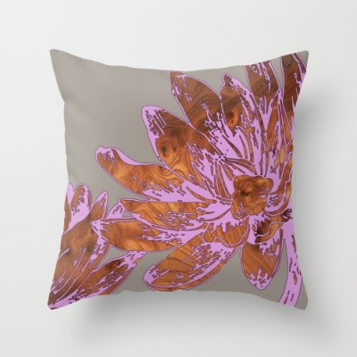 peony purple throw pillow