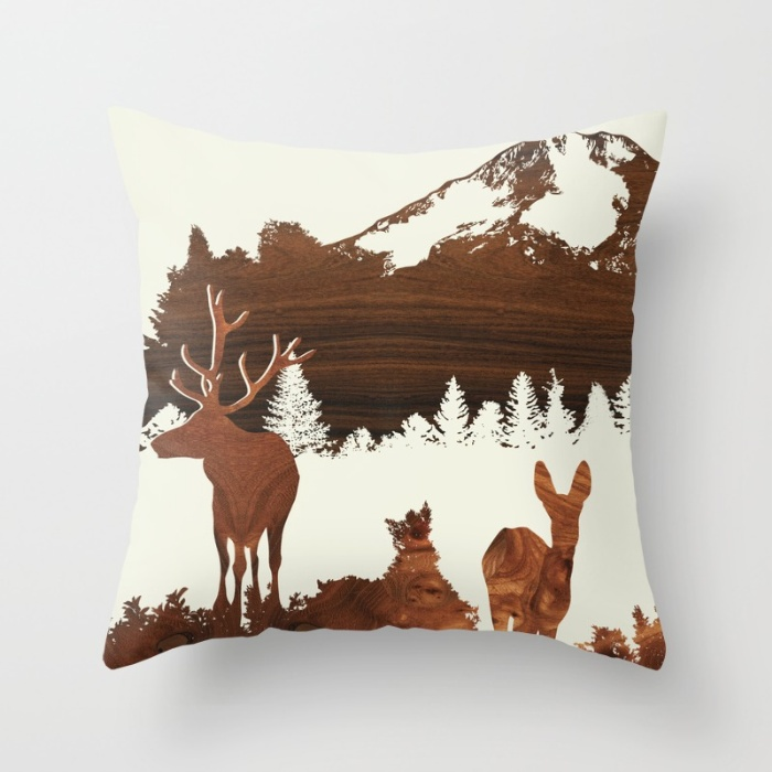 woodland design throw pillow