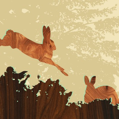 rabbit forest animal print