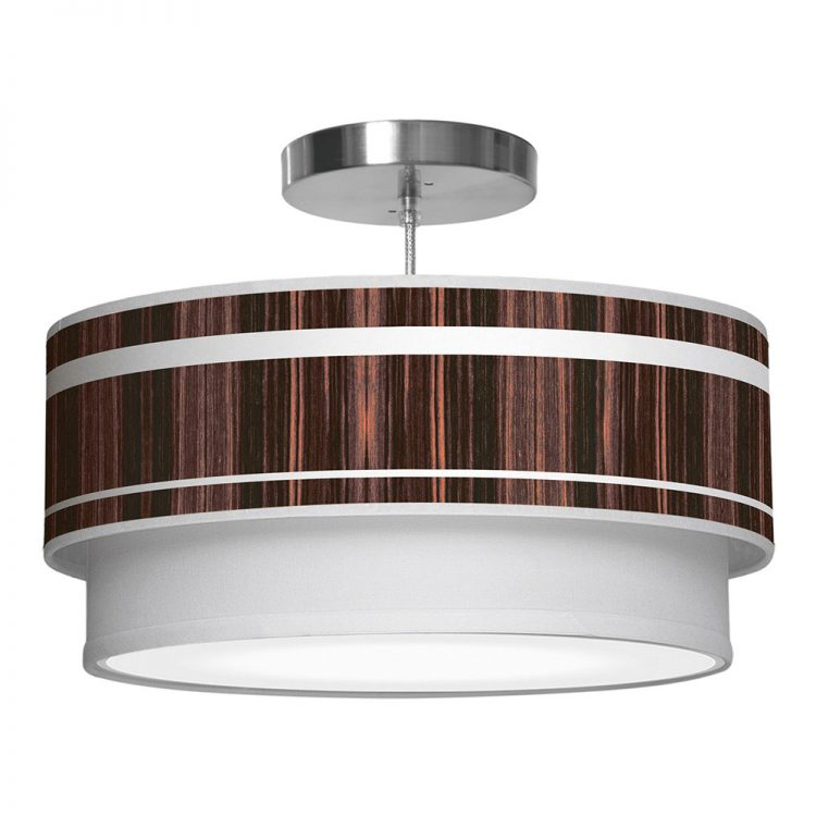band pattern printed drum shade double tier pendant