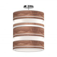 band printed shade triple tier pendant walnut