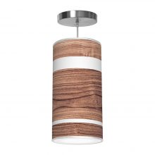 band printed shade column pendant walnut