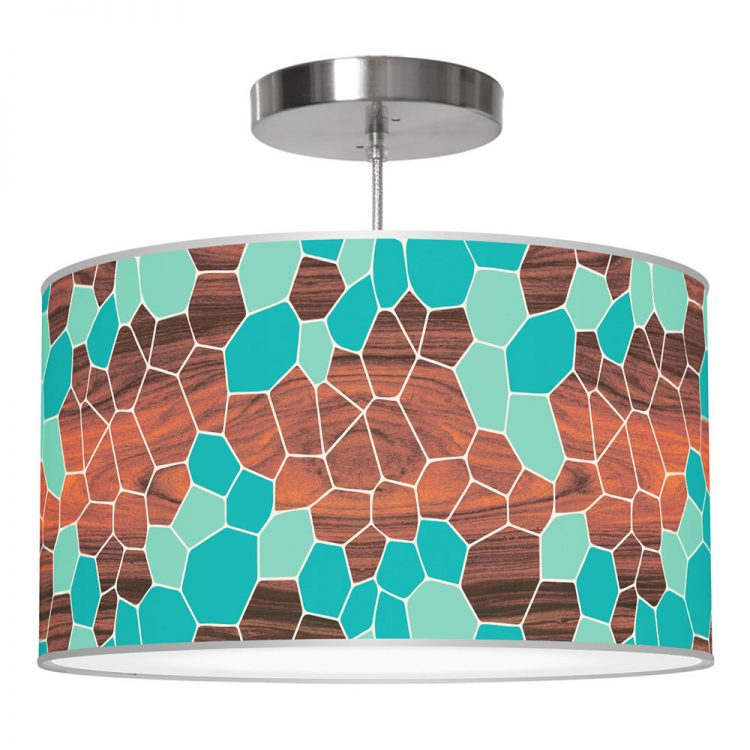 geode pattern printed linen drum shade pendant