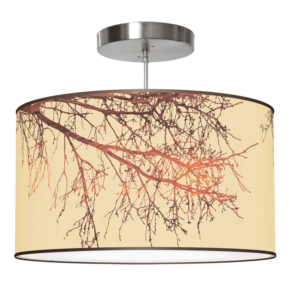 branch drum pendant cream