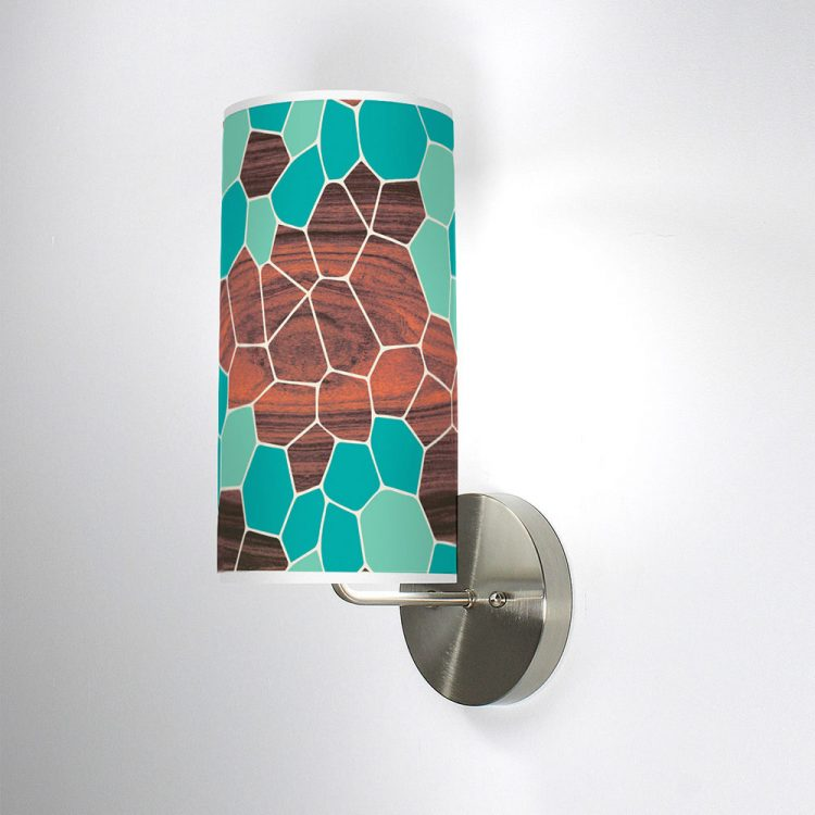 geode patterns printed shade column wall sconce