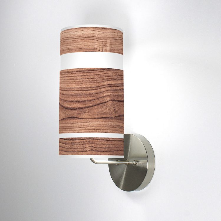 band printed linen shade column wall sconce