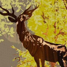 elk statue downtown portland oregon art print