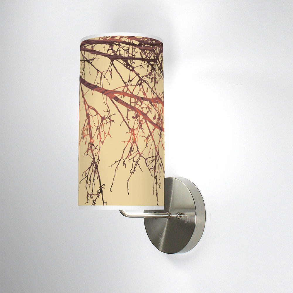 branch pattern printed linen shade column wall sconce