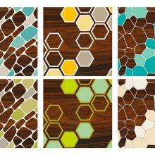 Cell Hex Geode Geometric wall art Prints Set