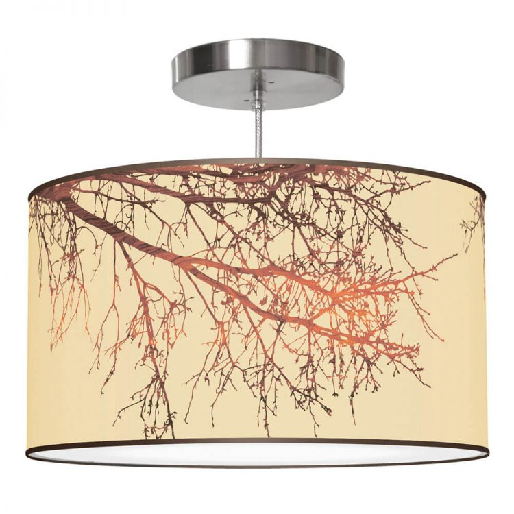 branch printed shade drum pendant lamp
