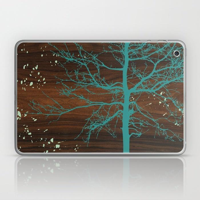 blue tree laptop and ipad skin