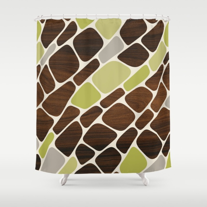 cell shower curtain in green