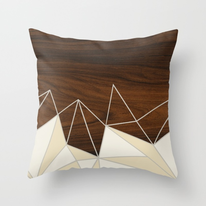 facet in cream throw pillow