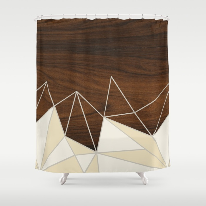facet in cream shower curtain