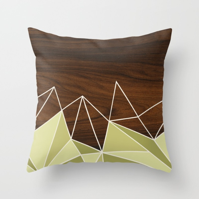 facet in green throw pillow