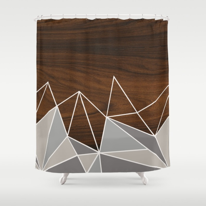 facet in grey shower curtain
