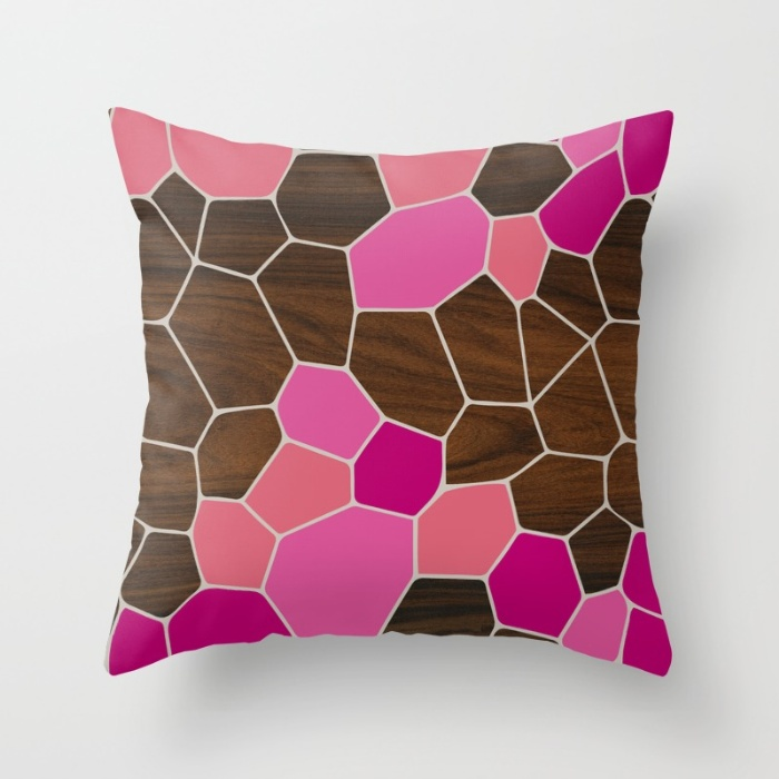 geode in pink throw pillow