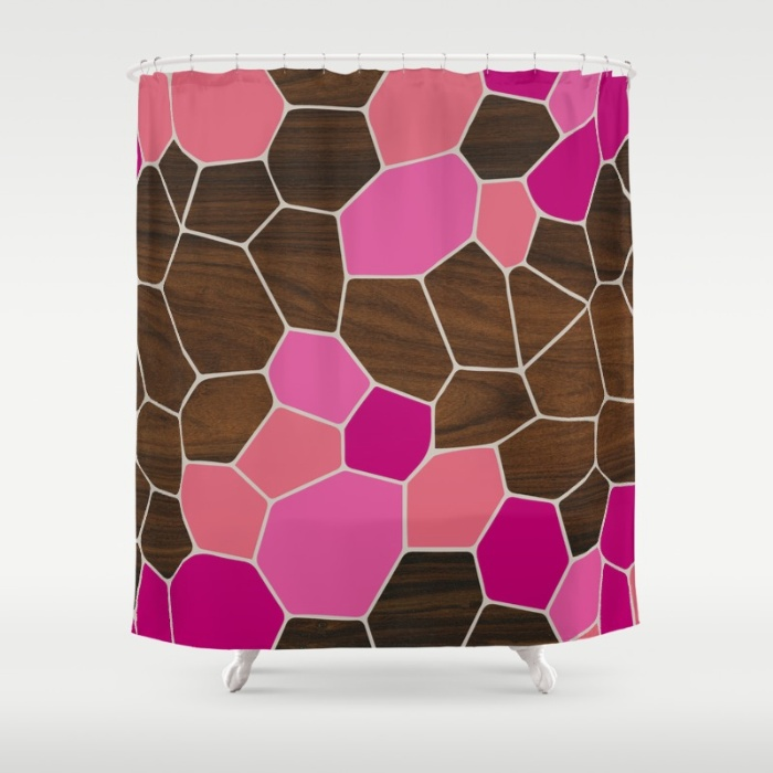 geode in pink shower curtain