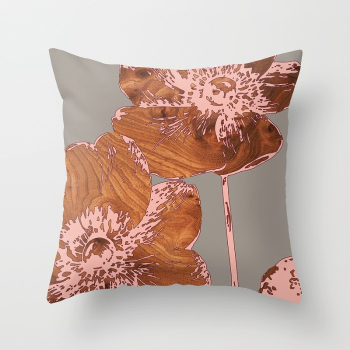 japanese anemone throw pillow