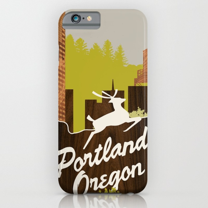 white stag sign portland designer phone case