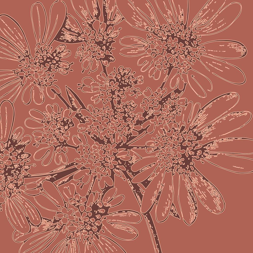 burgundy aster flowers botanical wall art Print