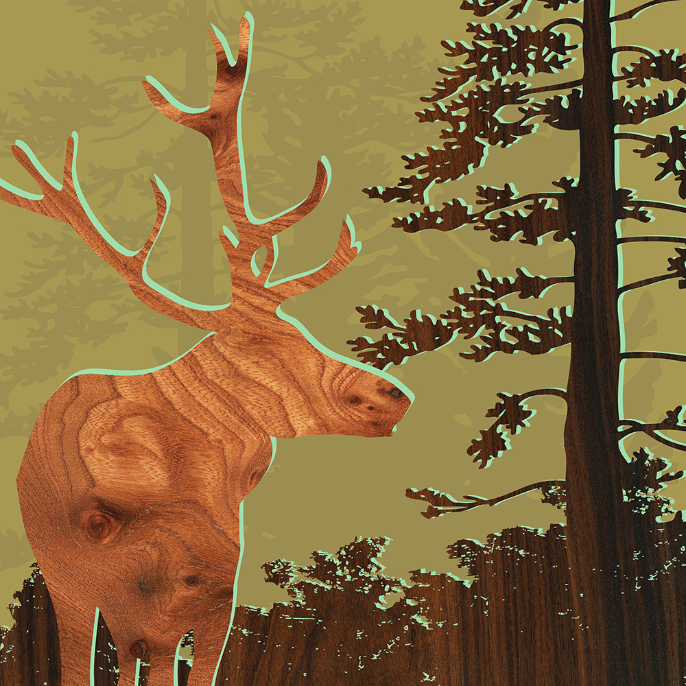 green stag deer nothwest forest animals print