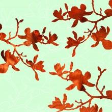 blue magnolia flowers botanical wall art Print