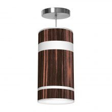 band pattern printed drum shade column pendant
