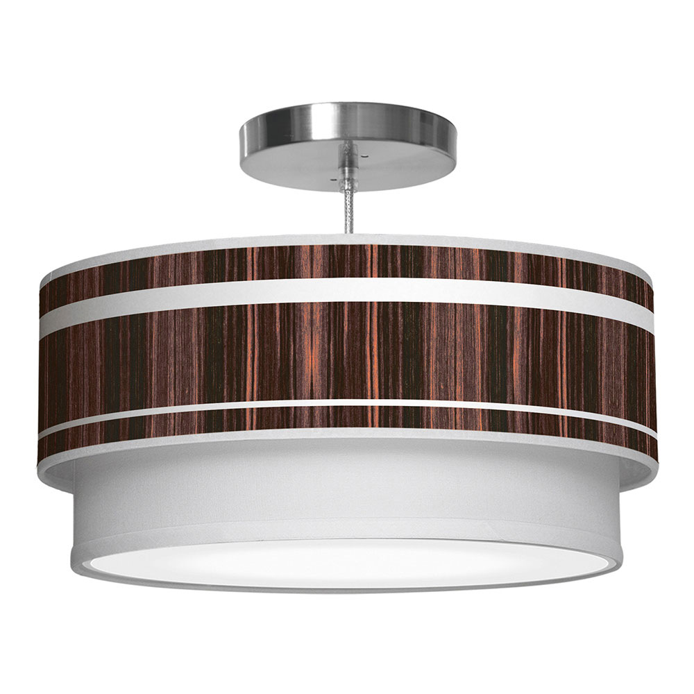 band printed shade double tier pendant lamp