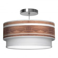 band printed shade double tier pendant walnut