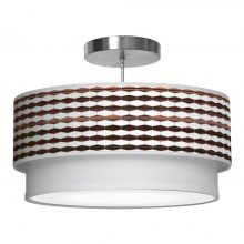 weave 3 printed drum shade double tier pendant