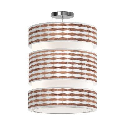 weave printed shade triple tier pendant lamp walnut