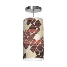 cell pattern printed drum shade column pendant
