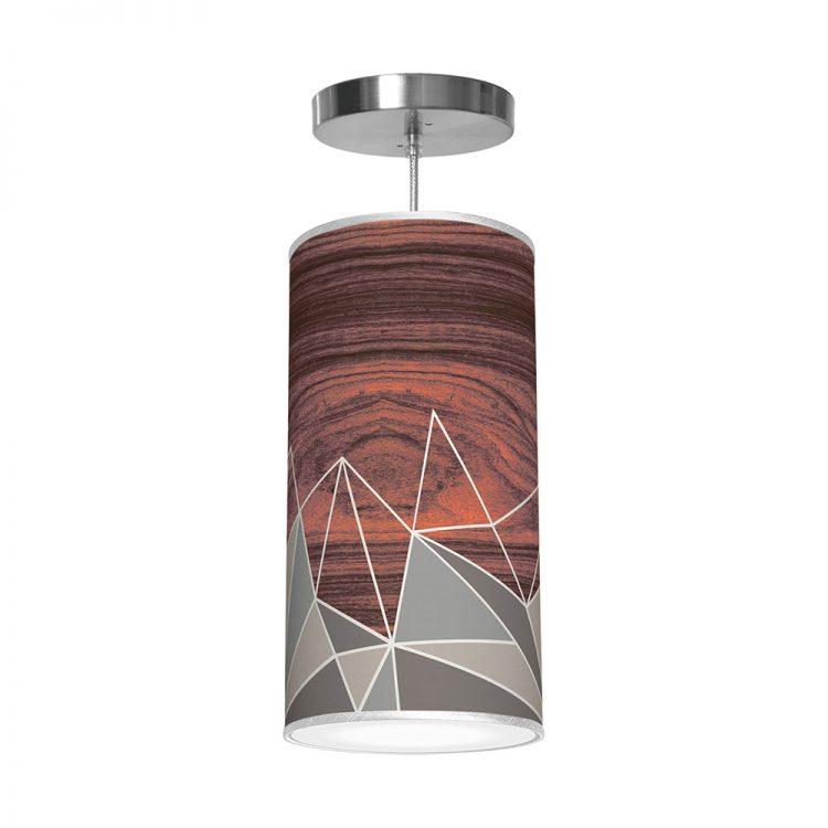 facet pattern printed drum shade column pendant