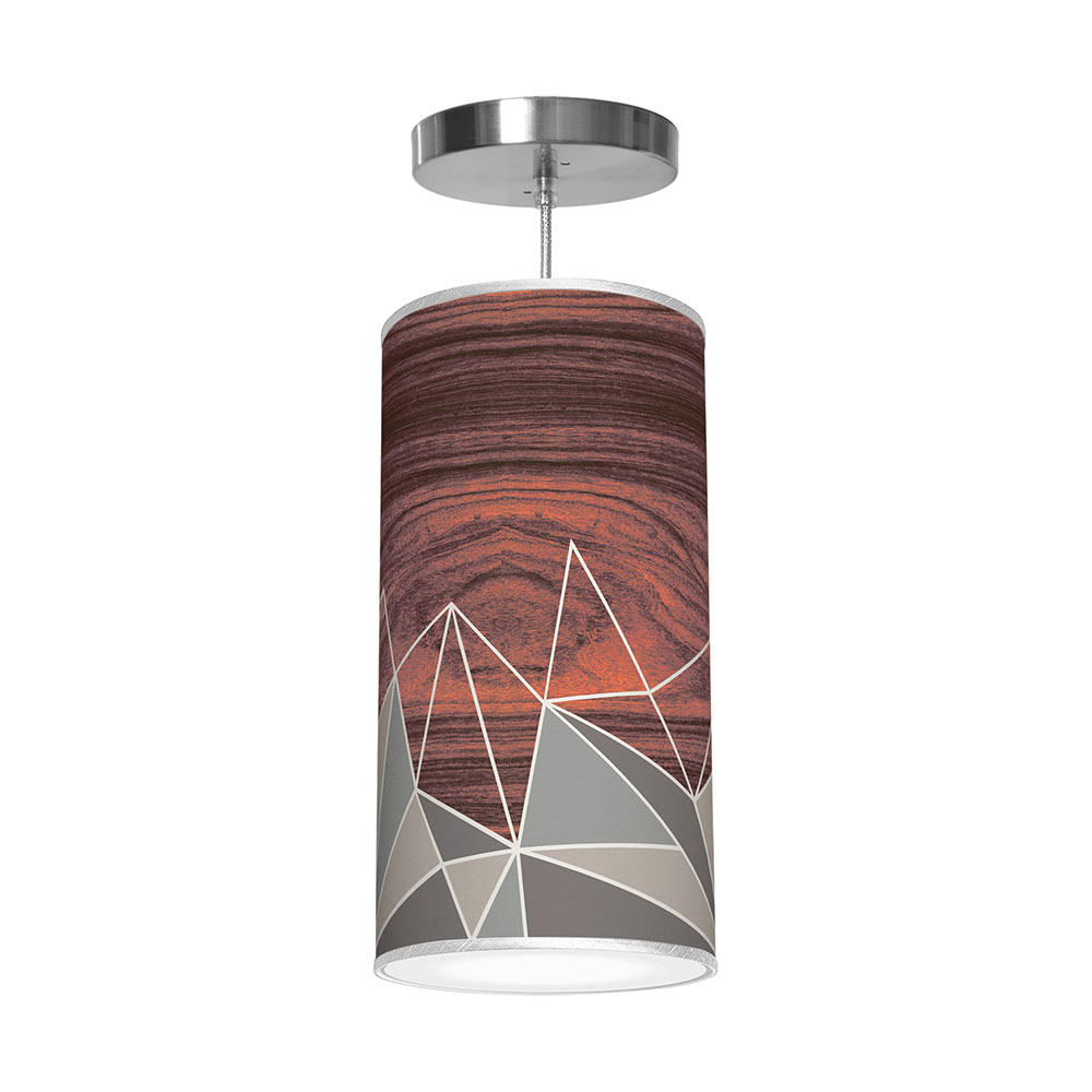facet pattern printed drum shade column pendant