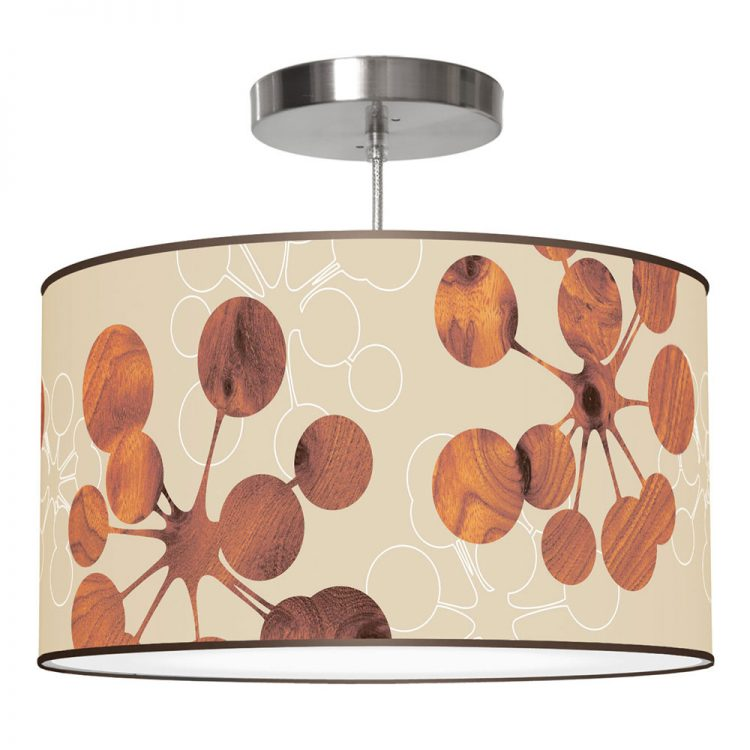 retro bubble printed linen drum shade pendant