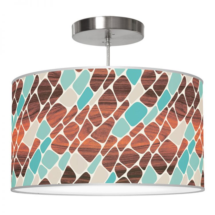 cell pattern printed linen drum shade pendant