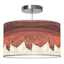 facet pattern printed linen single drum shade pendant