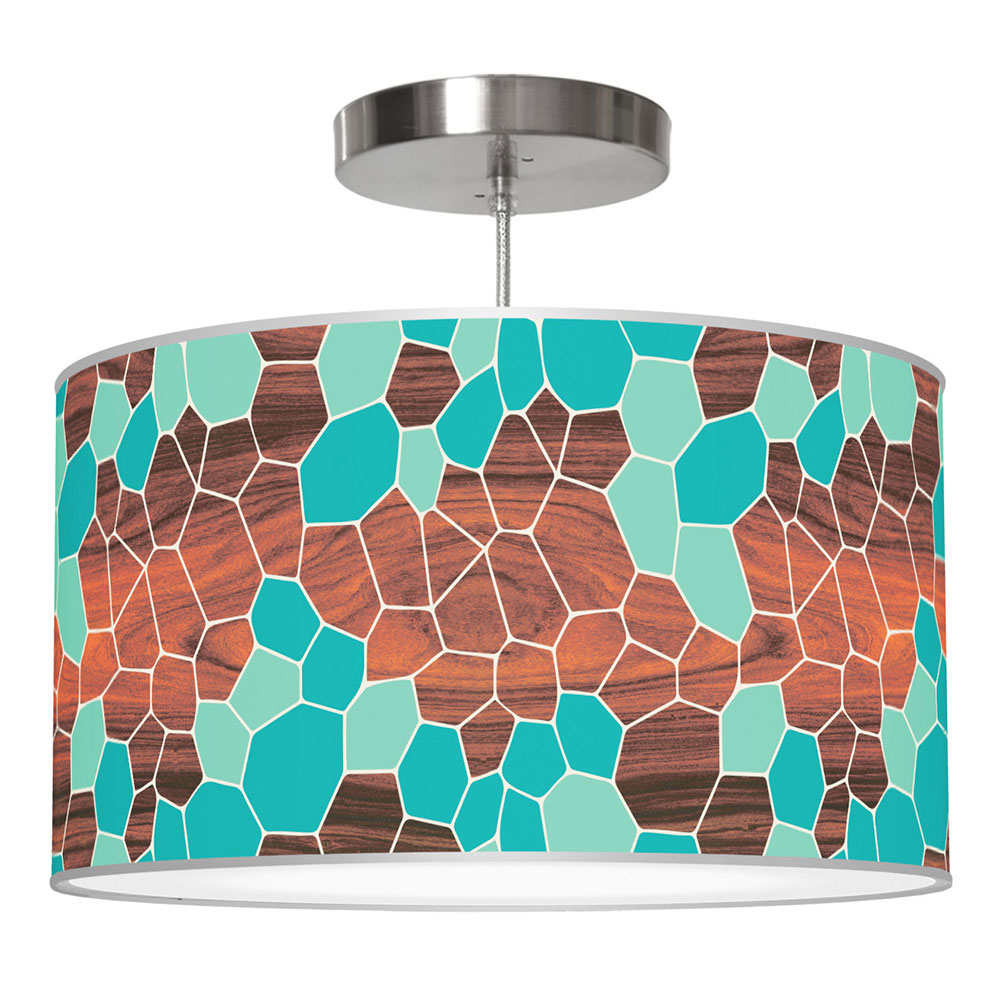 geode pattern printed linen drum shade pendant