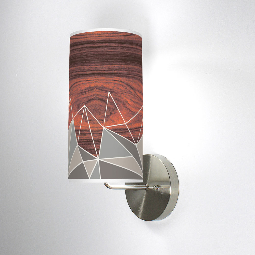 facet patterns printed shade column wall sconce