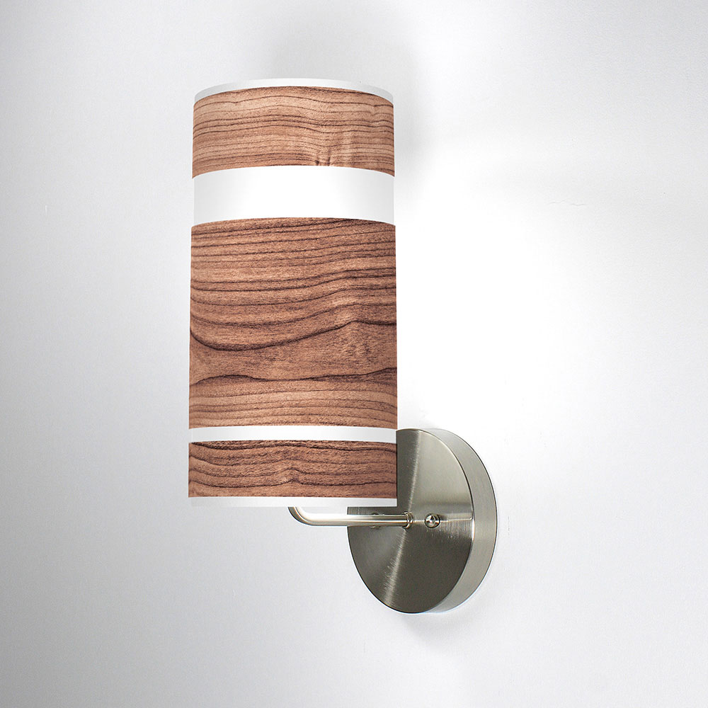 band printed shade column wall sconce